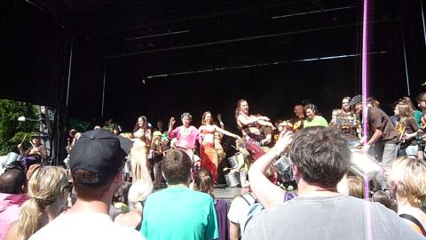 Arabesc Belly Dancers Group and Slagkraft Tromme Gruppe at Copenhagen Carnival 2012.
