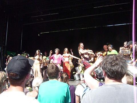 Arabesc Belly Dancers Group and Slagkraft Tromme Gruppe at Copenhagen Carnival 2012.